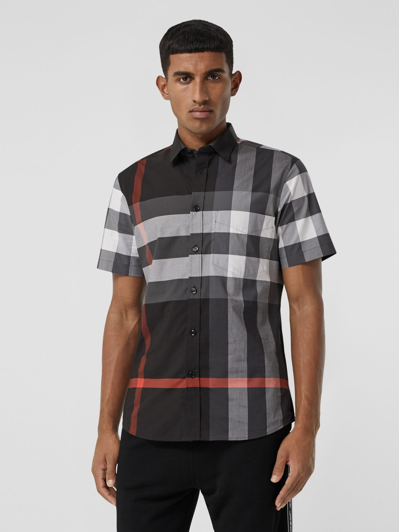Short-sleeve Check Stretch Cotton Poplin Shirt