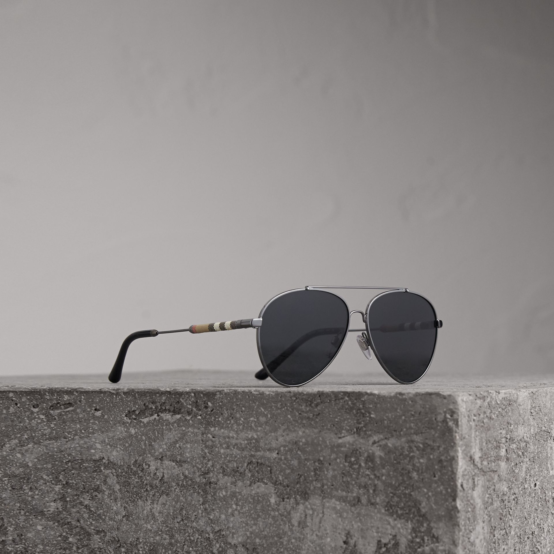 Check Detail Pilot Sunglasses in Black - Women | Burberry - gallery image 0