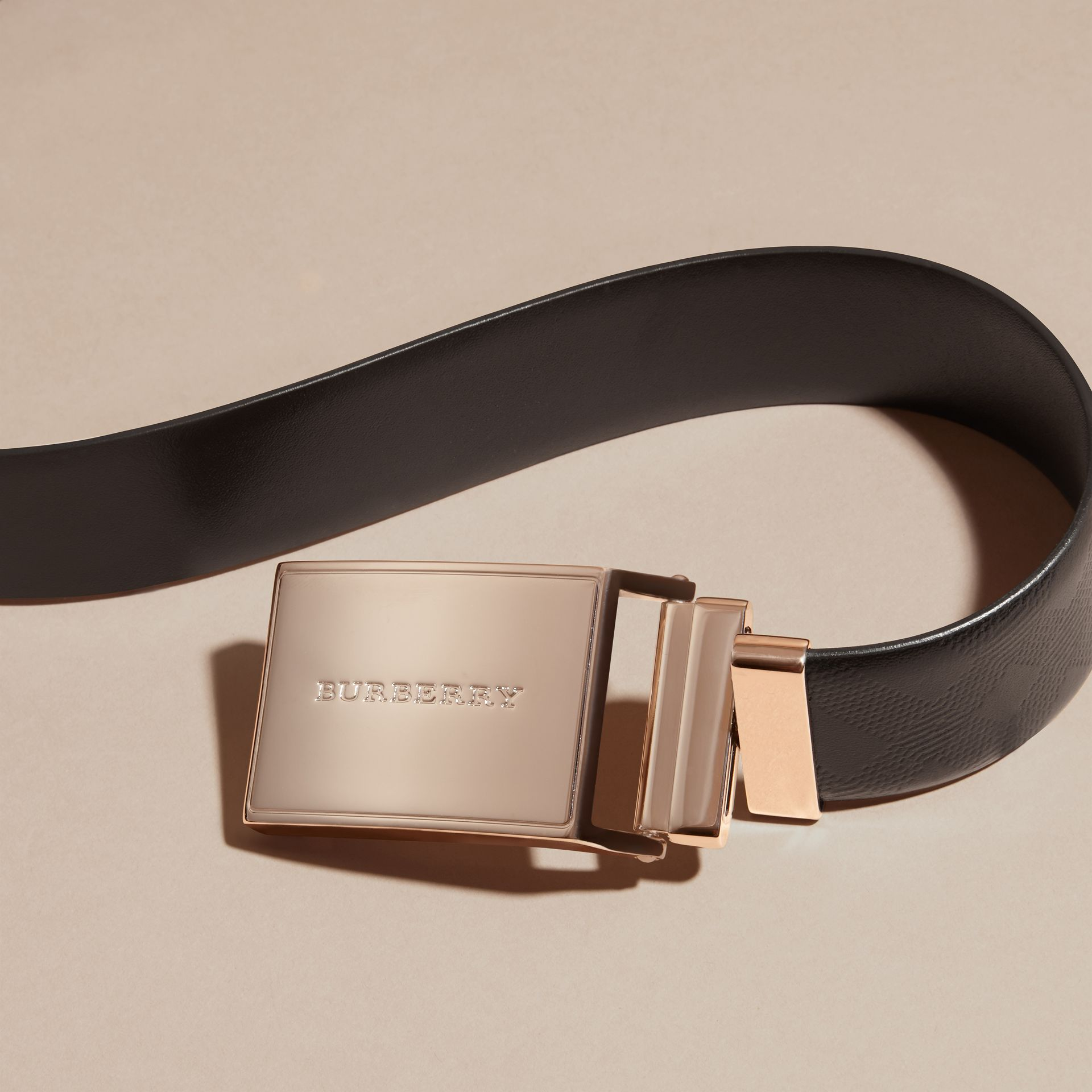 Black Reversible Check Embossed Leather Belt - gallery image 2
