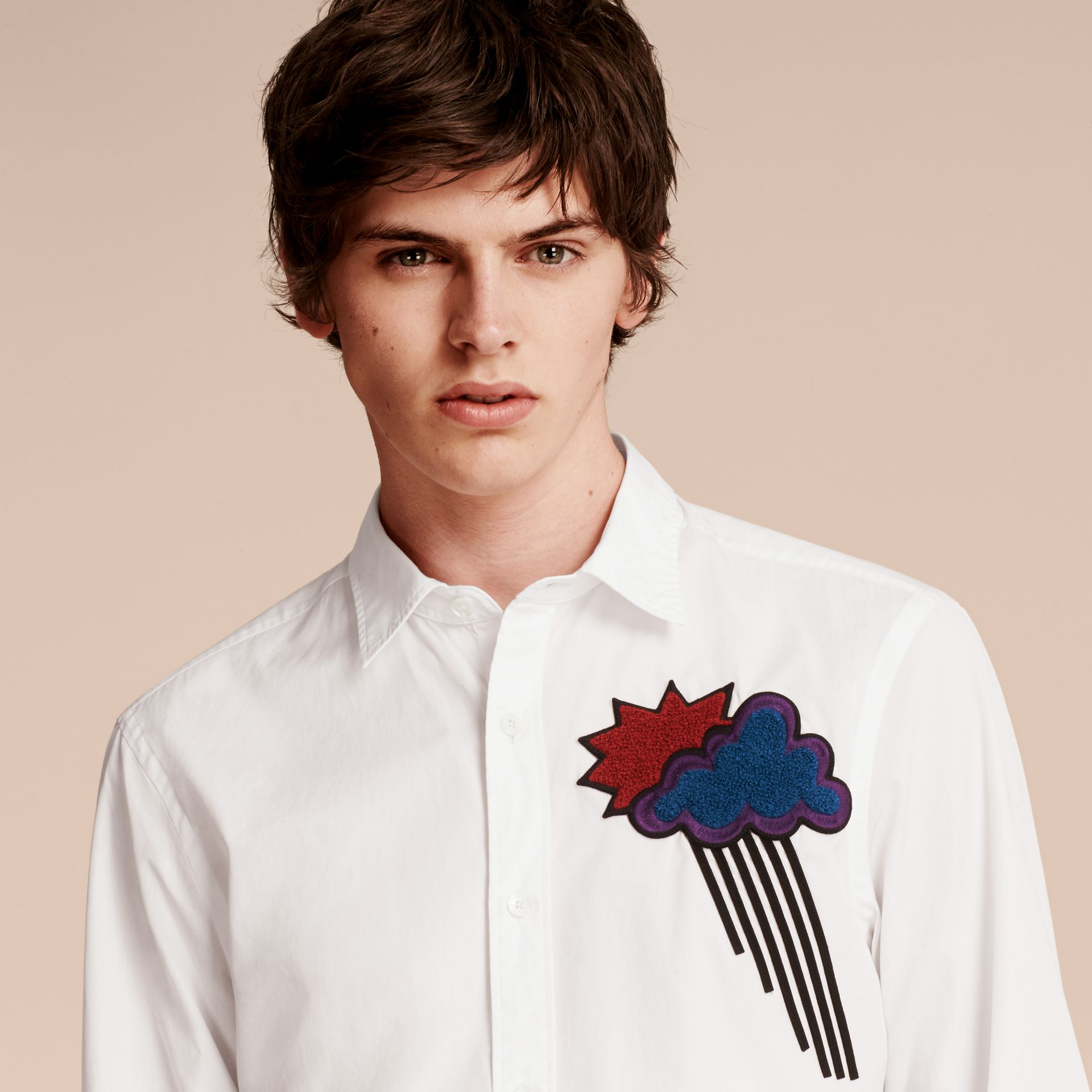 White Weather Appliqué Cotton Poplin Shirt - gallery image 5