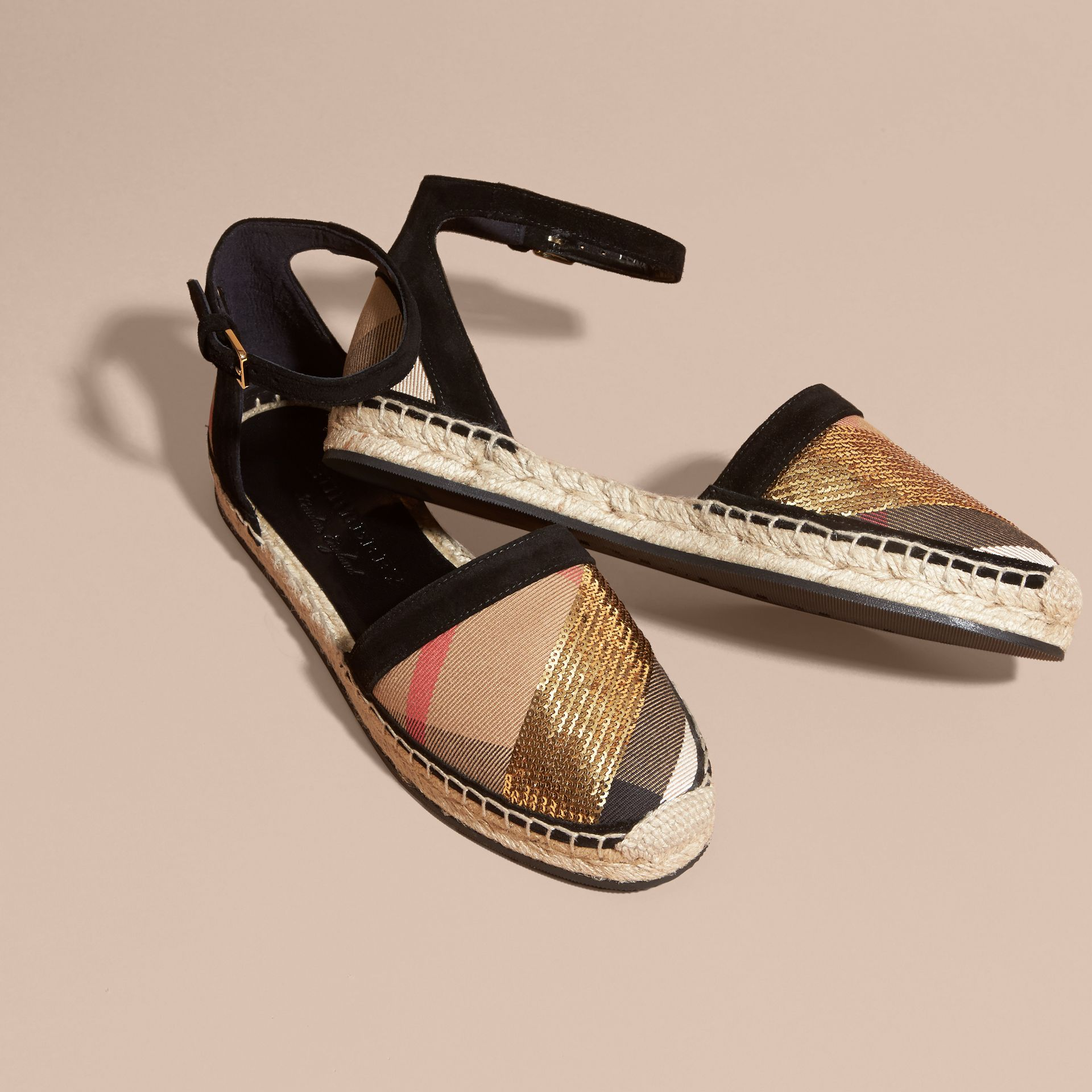 House check/gold Sequinned Leather and House Check Espadrille Sandals Check/gold - gallery image 3