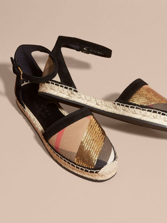 House check/gold Sequinned Leather and House Check Espadrille Sandals Check/gold - cell image 2