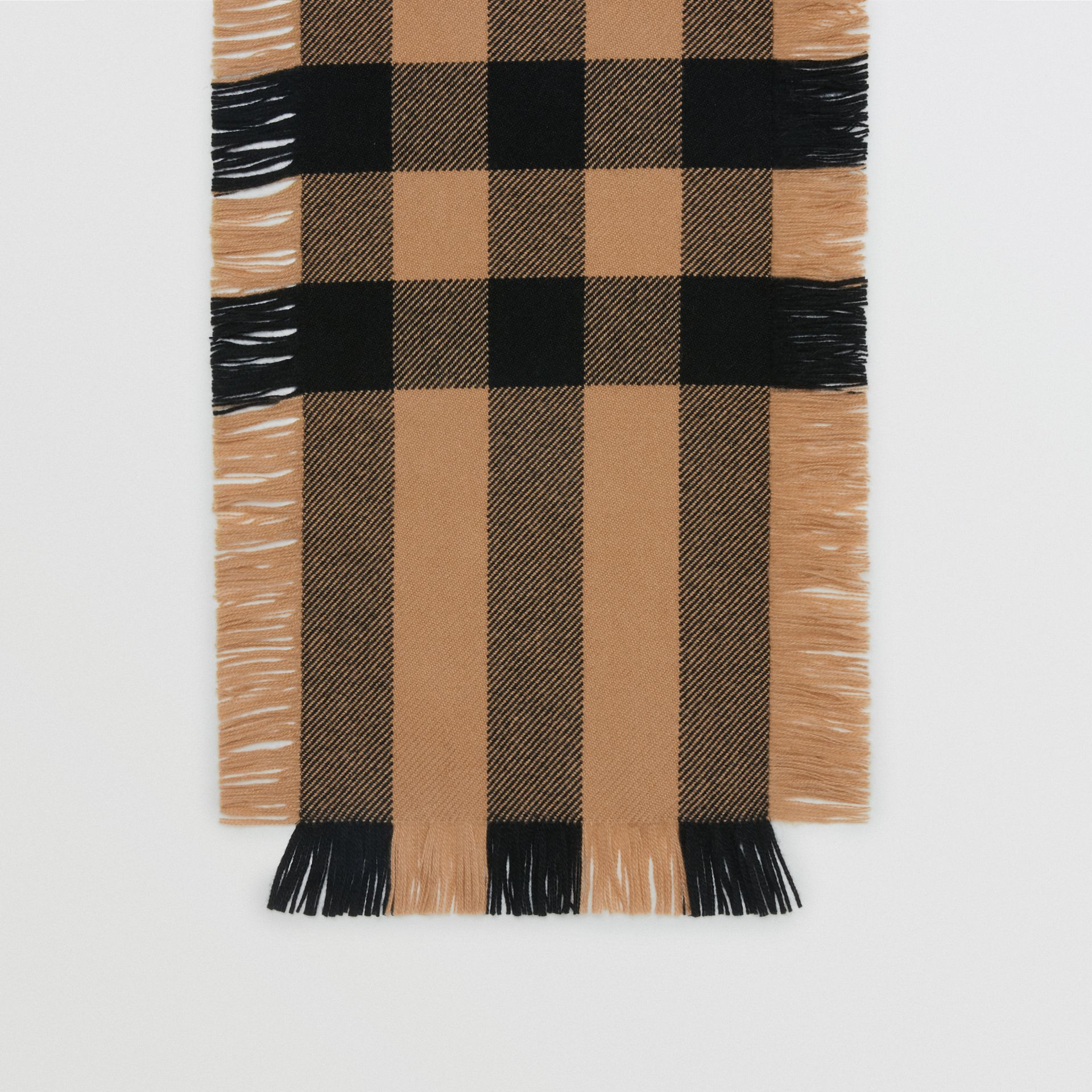 Fringed Check Wool Scarf in Camel | Burberry Singapore - gallery image 4