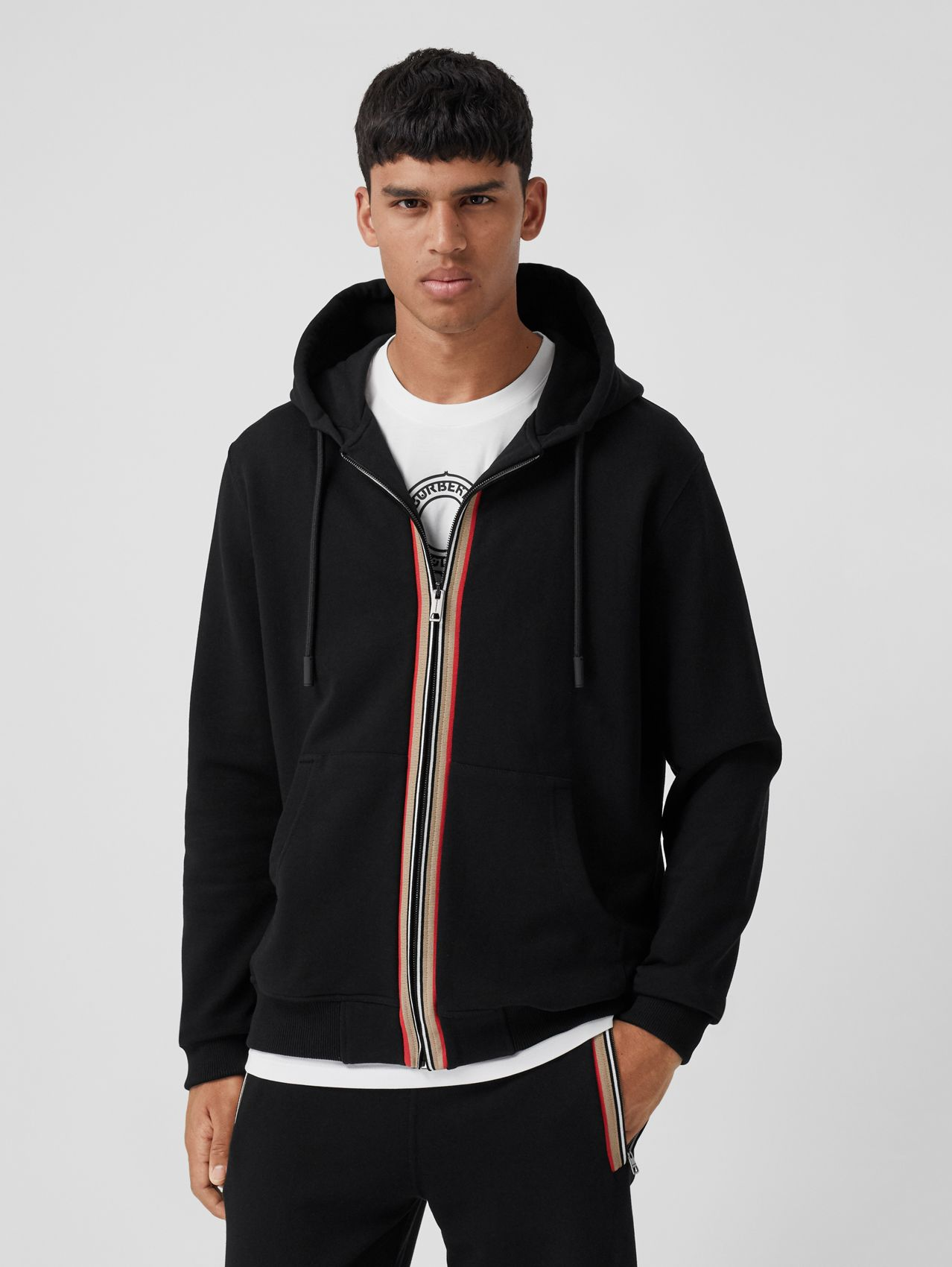 Icon Stripe Detail Cotton Hooded Top in Black