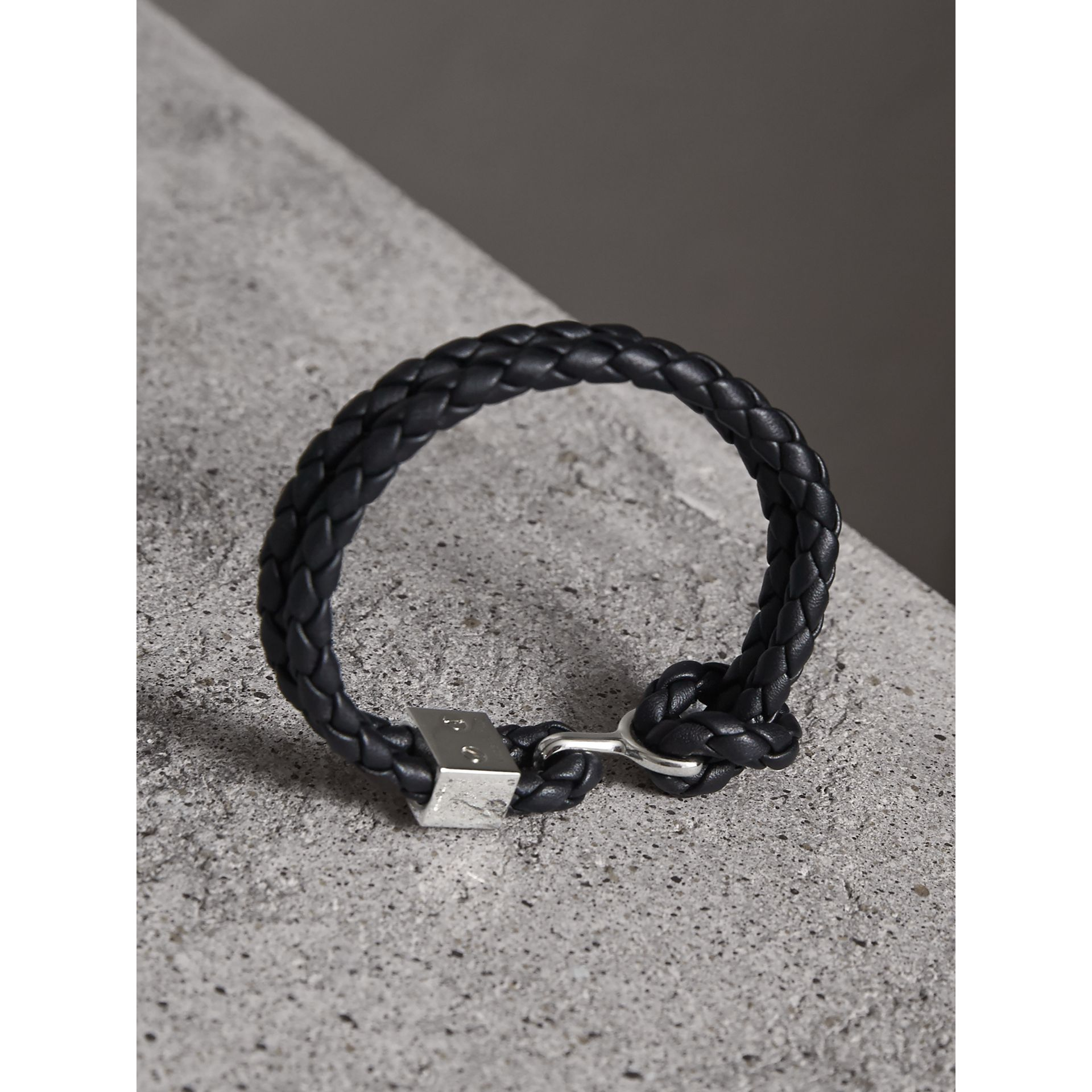 Braided Leather Bracelet in Black - Men | Burberry - gallery image 3