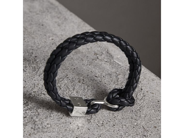 Braided Leather Bracelet in Black - Men | Burberry Canada - cell image 2