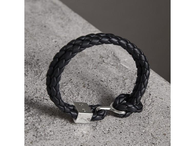 Braided Leather Bracelet in Black - Men | Burberry Australia - cell image 2