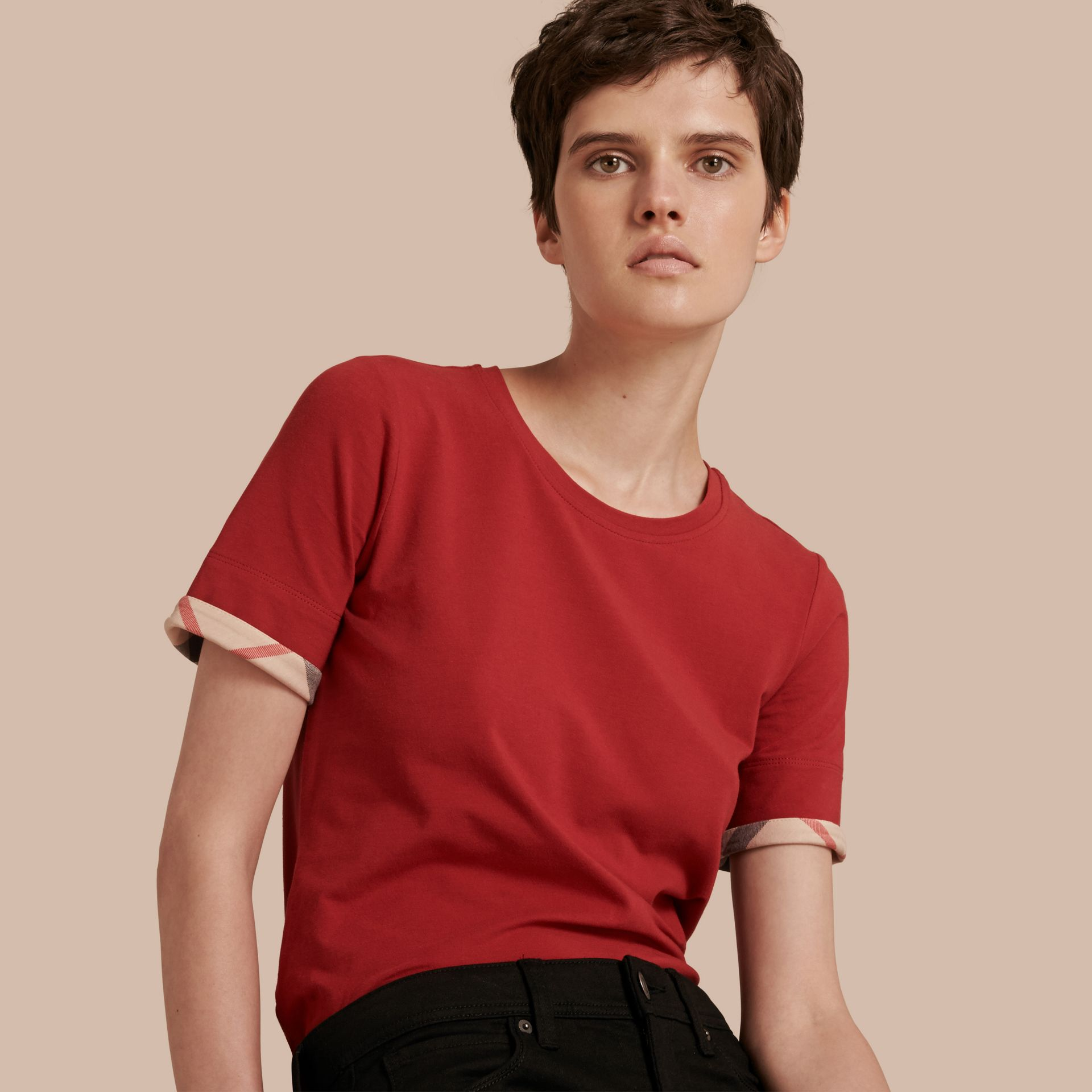 Check Cuff Stretch Cotton T-Shirt Lacquer Red - gallery image 1