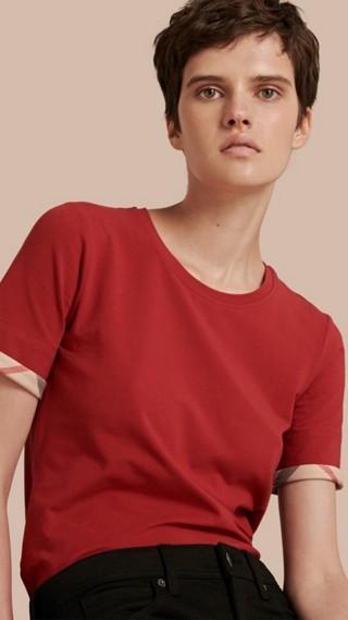 T-shirt en coton extensible avec revers à motif check