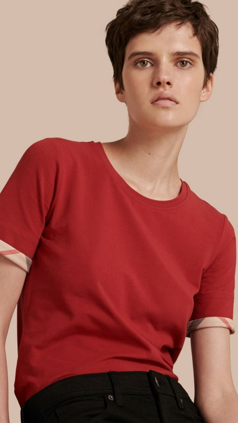 Lacquer red Check Cuff Stretch Cotton T-Shirt Lacquer Red - Image 1
