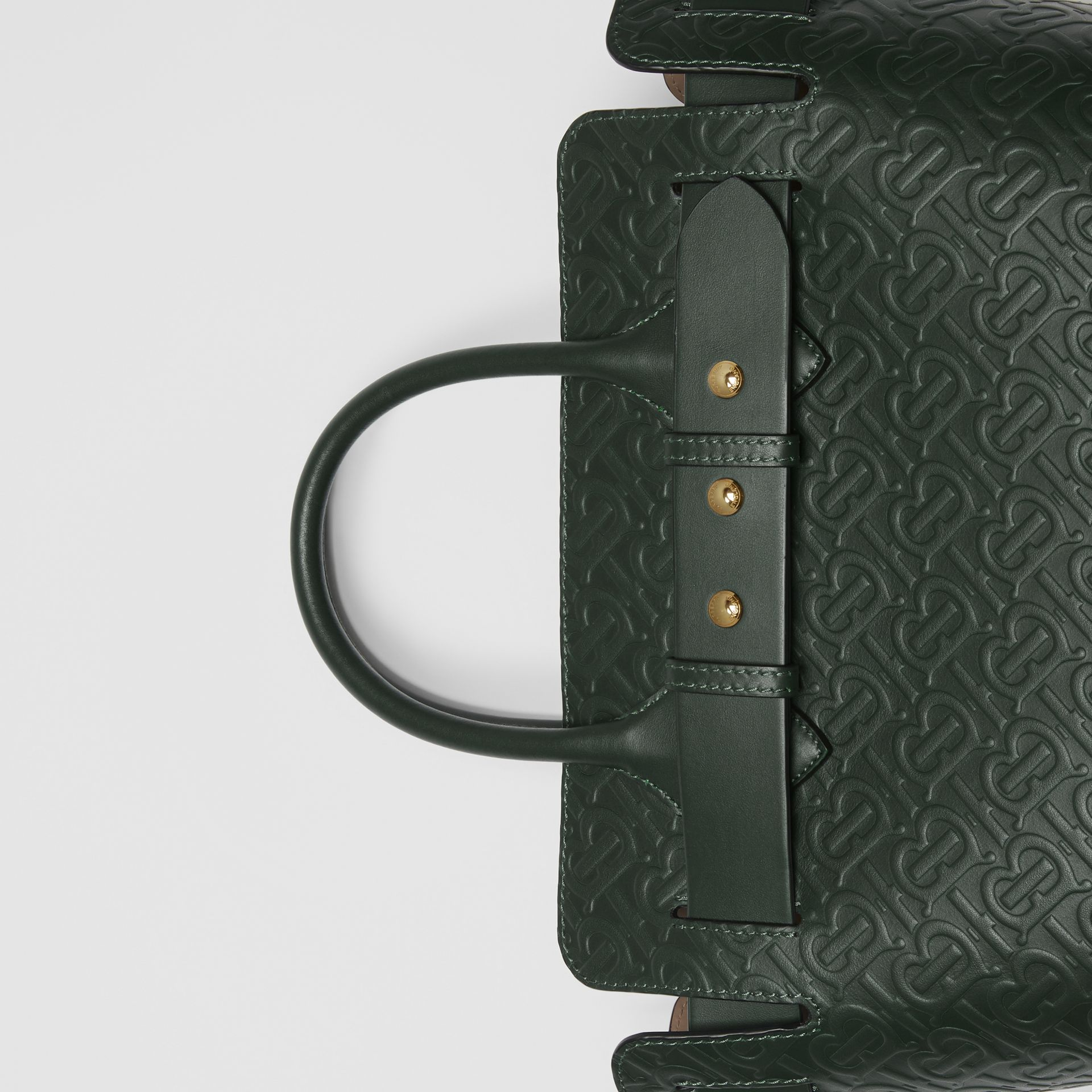 The Small Monogram Leather Triple Stud Belt Bag in Pine Green - Women | Burberry - gallery image 1