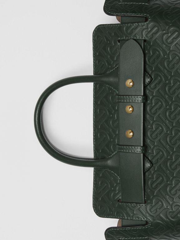 The Small Monogram Leather Triple Stud Belt Bag in Pine Green - Women | Burberry - cell image 1