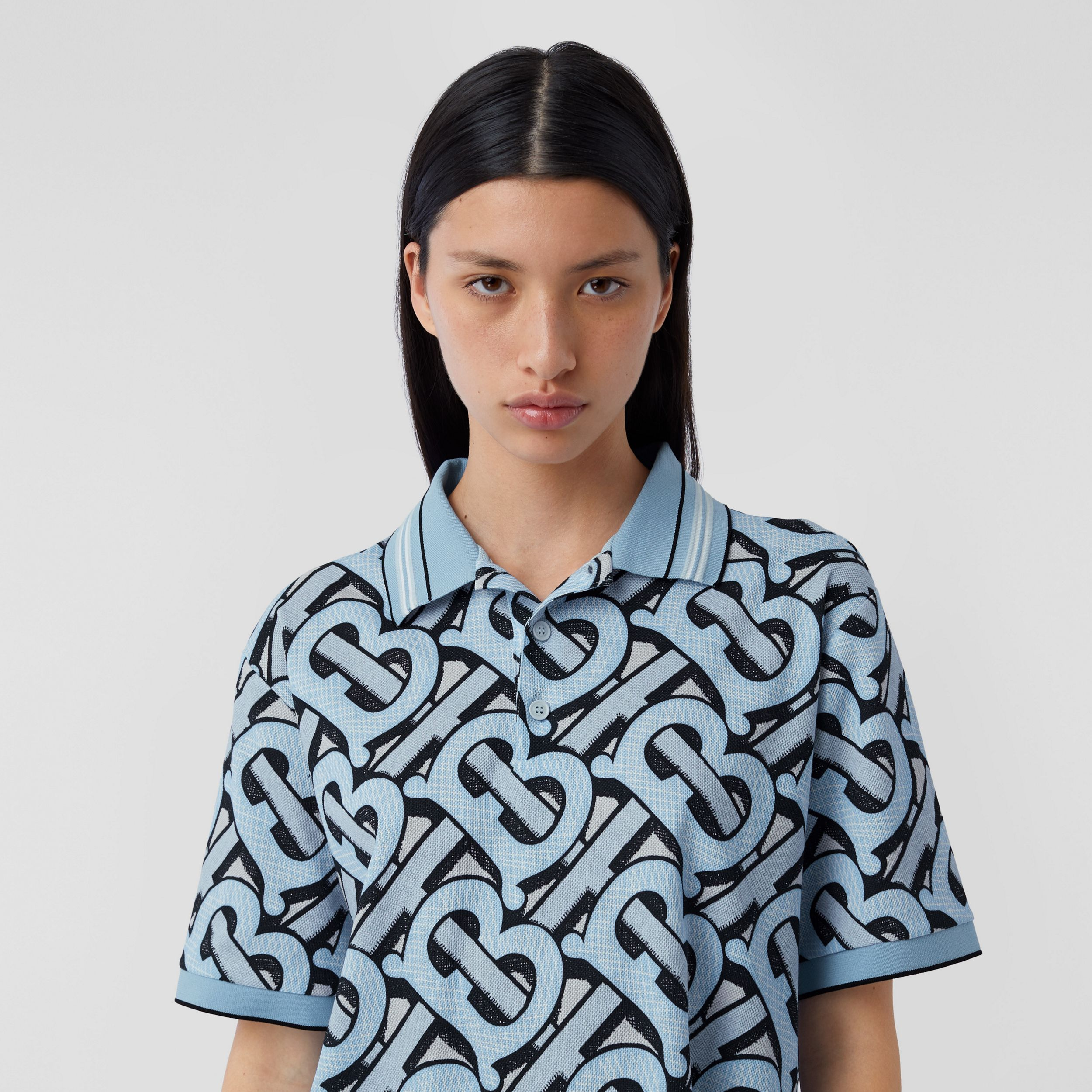 Monogram Print Cotton Piqué Polo Shirt – Unisex in Pale Azure | Burberry - 2