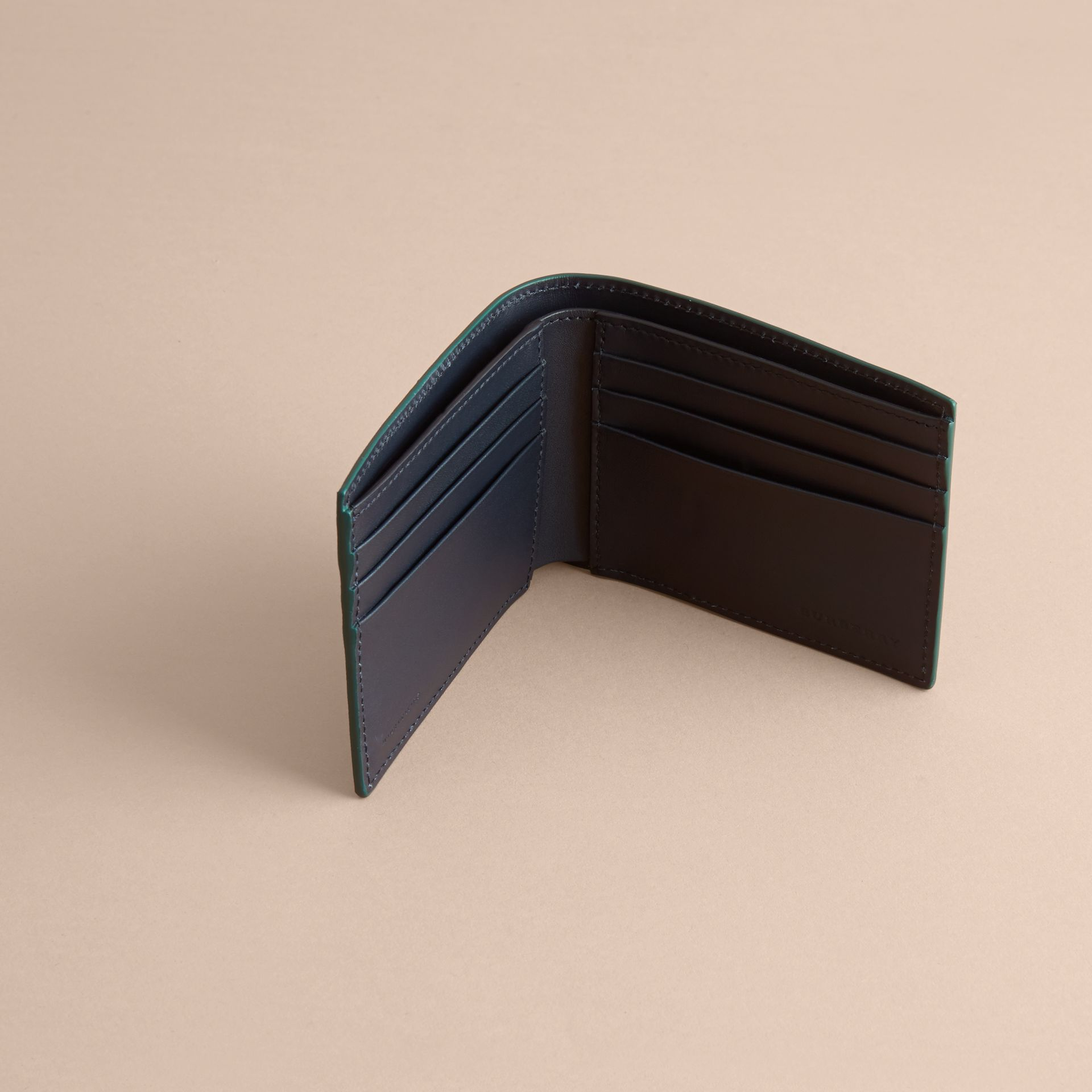 London Leather Bifold Wallet in Dark Teal | Burberry - gallery image 5