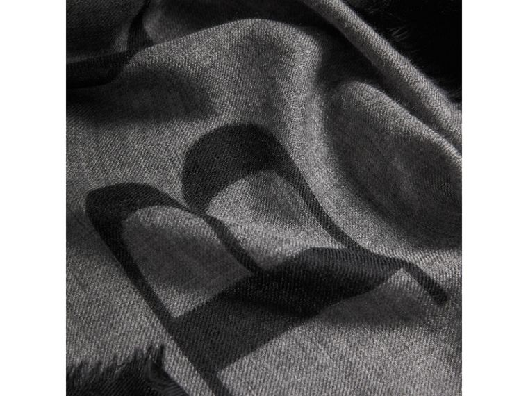 Graphic Print Motif  Lightweight Cashmere Scarf in Mid Grey | Burberry - cell image 1