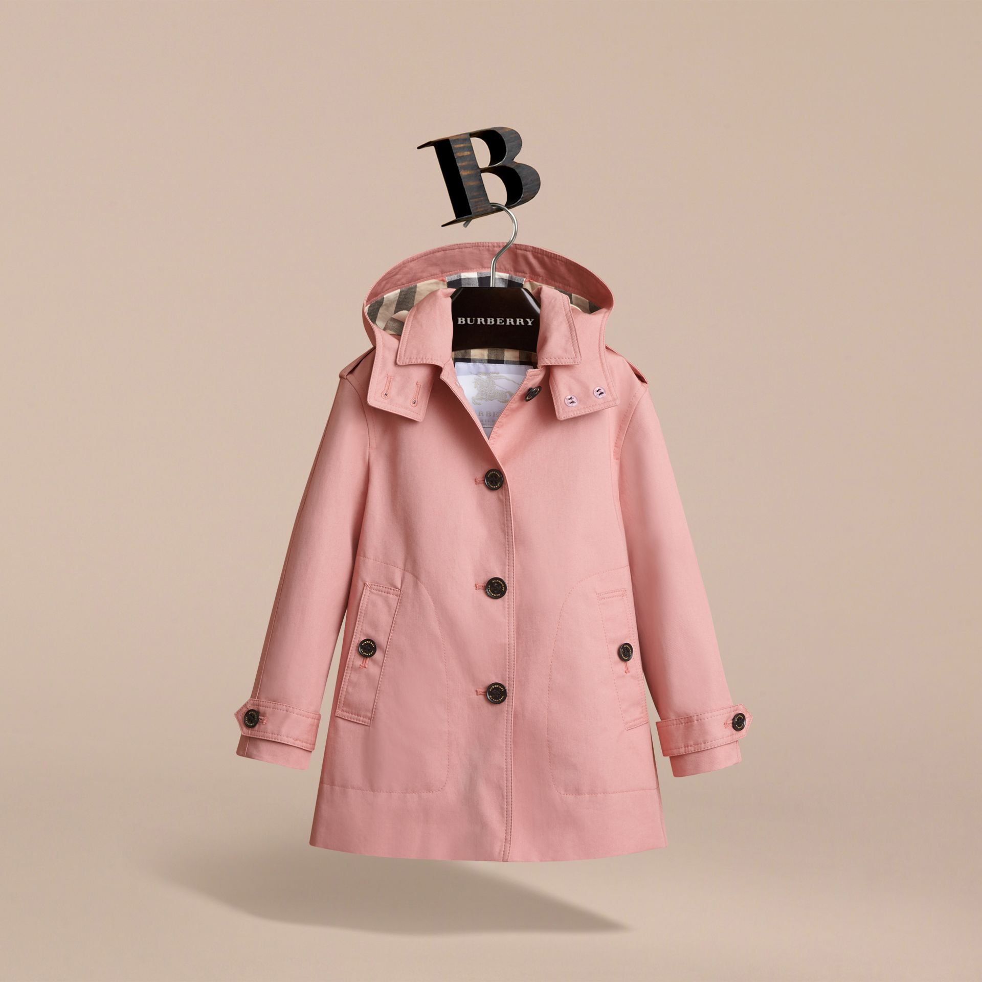 Detachable Hood Cotton Trench Coat - Girl | Burberry - gallery image 3