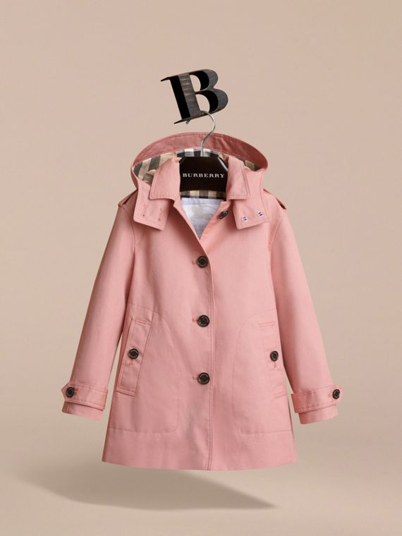 Detachable Hood Cotton Trench Coat - Girl | Burberry - cell image 2