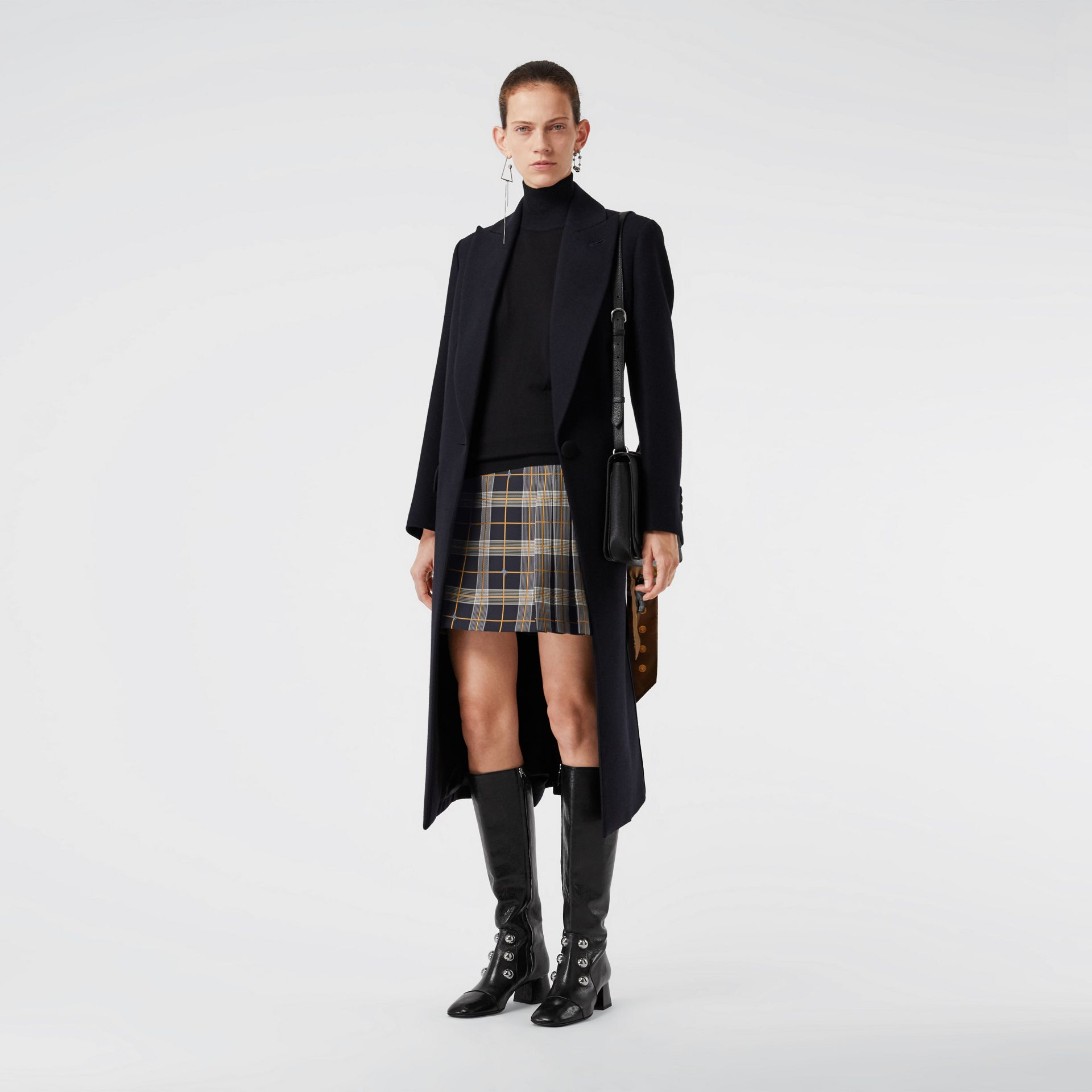 Pleat Detail Check Mini Skirt in Navy - Women | Burberry Singapore - gallery image 0