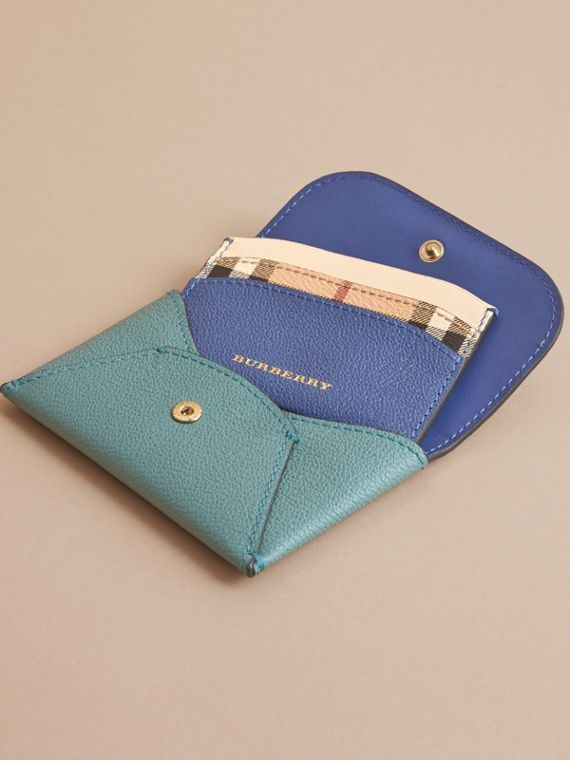 Leather Coin Case with Removable Card Compartment in Eucalyptus Green/multi - Women | Burberry Canada - cell image 3