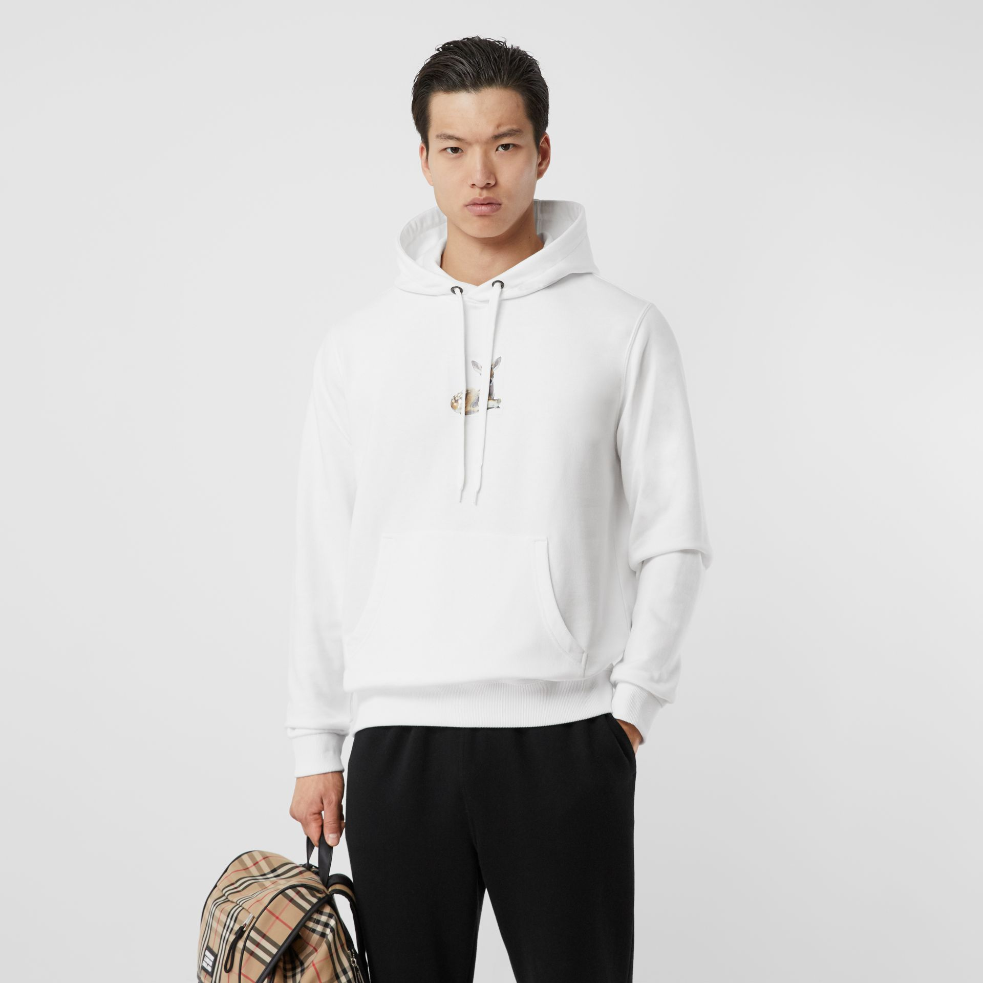 Deer Print Cotton Hoodie in White - Men | Burberry - gallery image 5