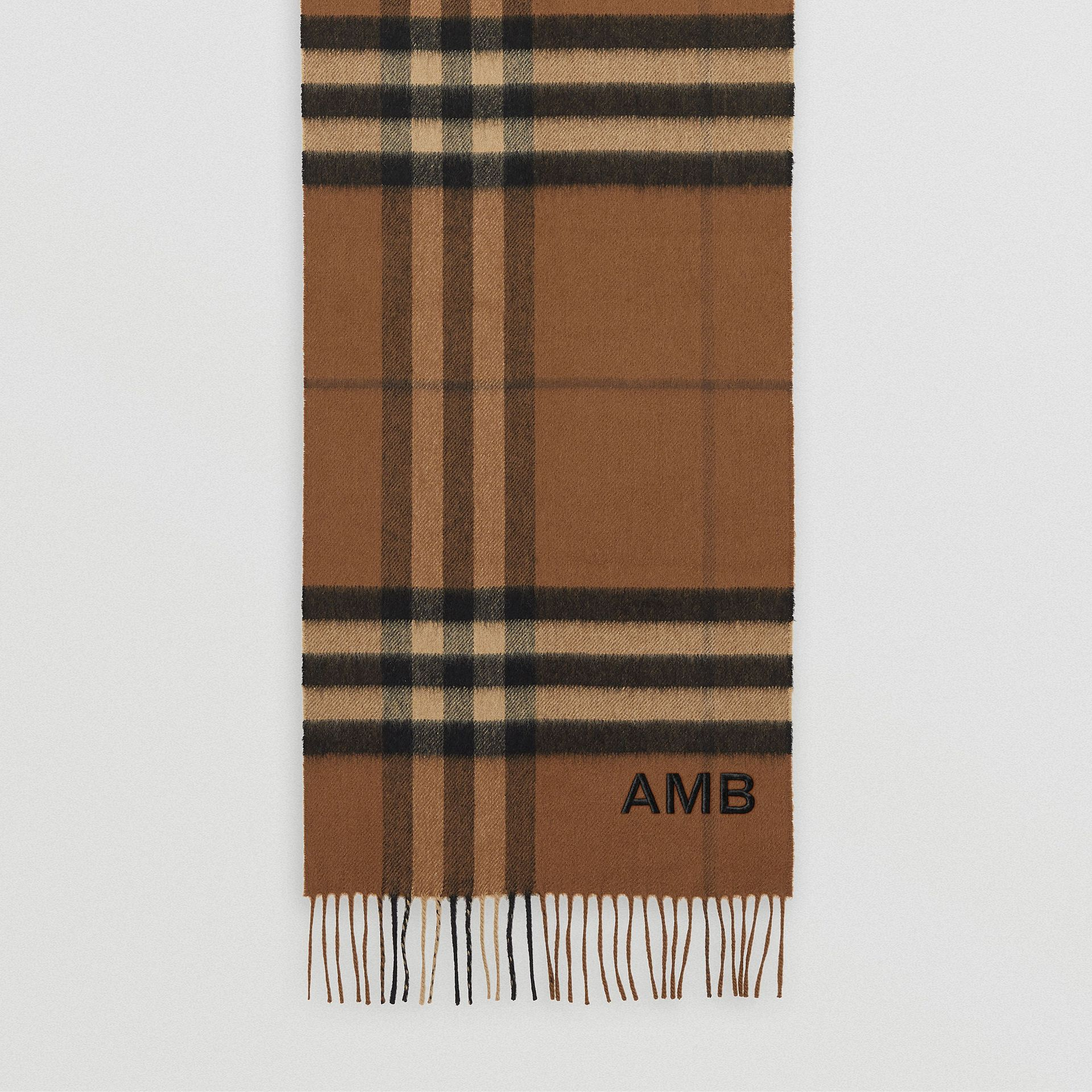 The Classic Check Cashmere Scarf in Bridle Brown | Burberry - gallery image 8