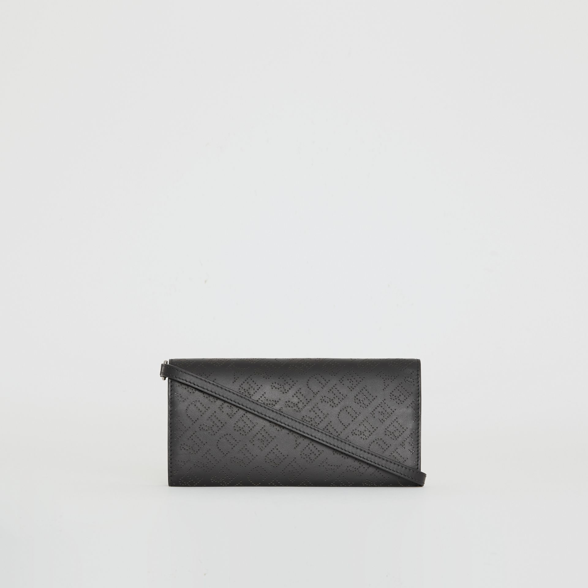 Perforated Logo Leather Wallet with Detachable Strap in Black - Women | Burberry - gallery image 7