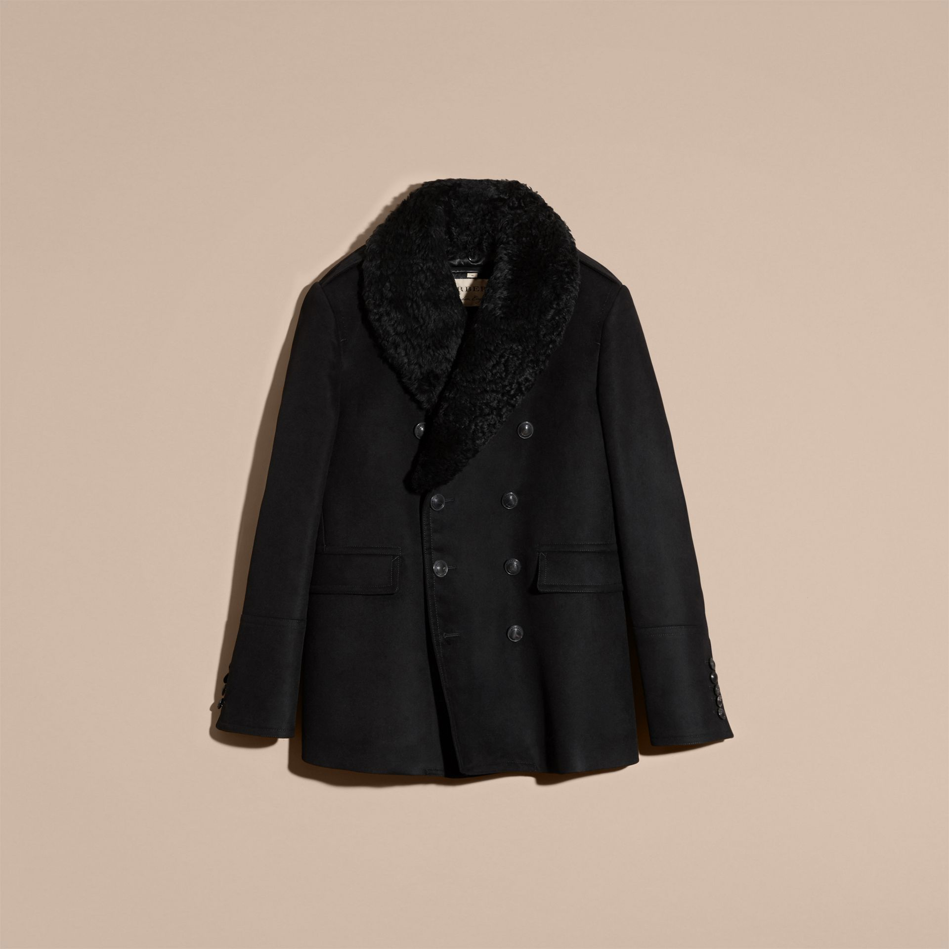 Black Technical-cotton Moleskin Pea Coat with Shearling Collar - gallery image 3