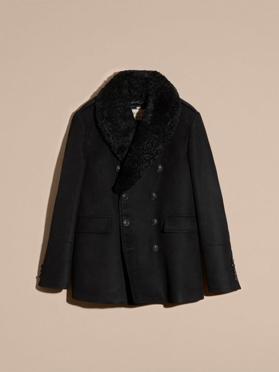 Black Technical-cotton Moleskin Pea Coat with Shearling Collar - cell image 2