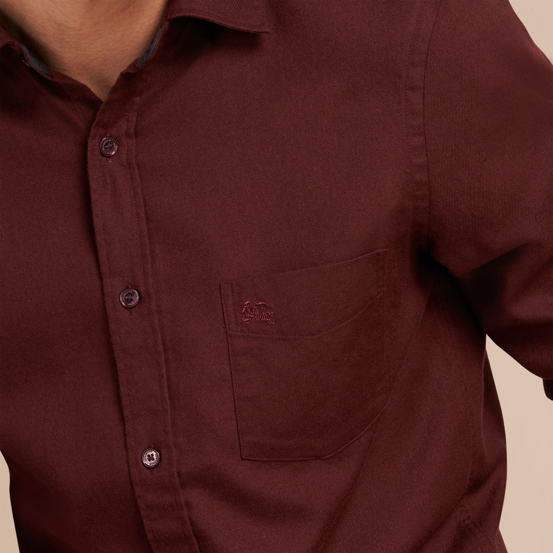 Dark elderberry Check Detail Cotton Flannel Shirt Dark Elderberry - gallery image 5