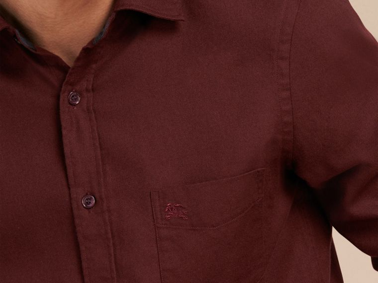 Dark elderberry Check Detail Cotton Flannel Shirt Dark Elderberry - cell image 4