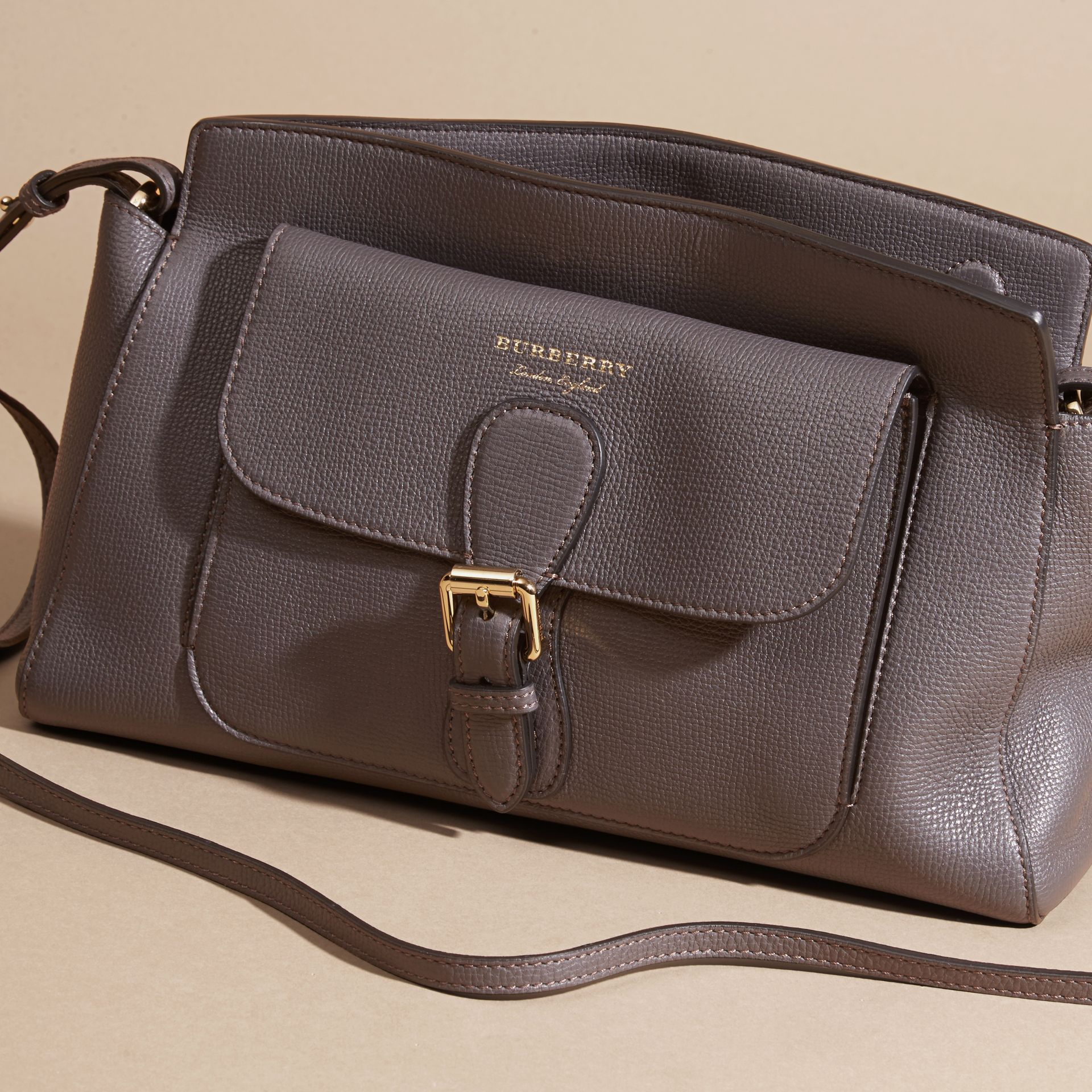 Sepia grey The Saddle Clutch in Grainy Bonded Leather Sepia Grey - gallery image 7