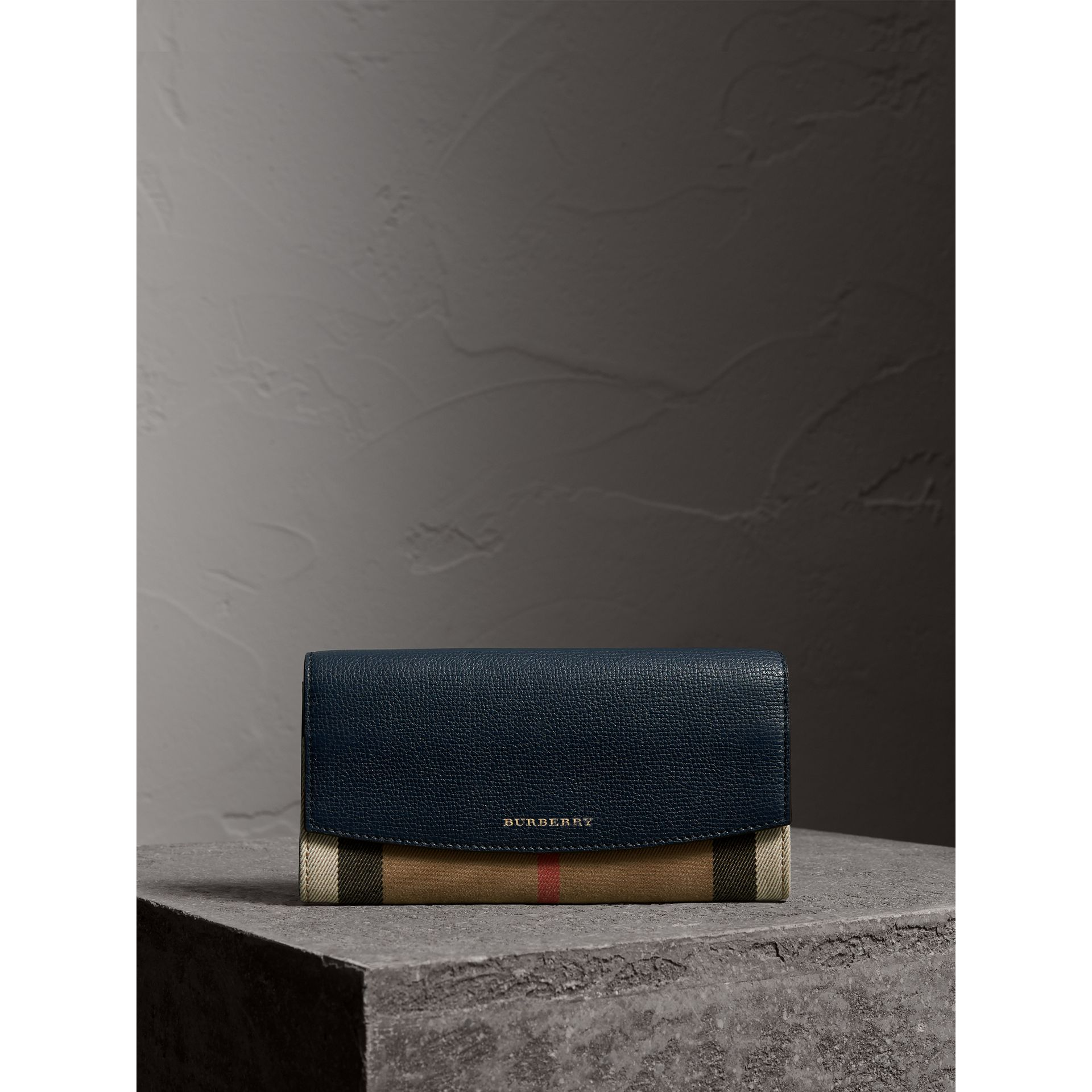 House Check And Leather Continental Wallet in Ink Blue - Women | Burberry - gallery image 1