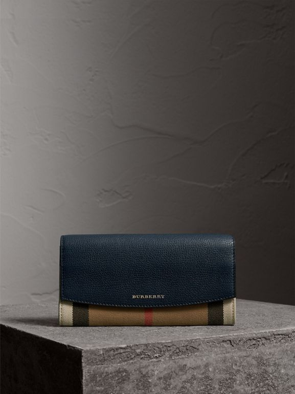 House Check And Leather Continental Wallet in Ink Blue - Women | Burberry - cell image 1