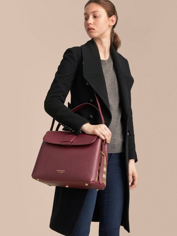Medium Grainy Leather and House Check Tote Bag in Mahogany Red - Women | Burberry Australia - cell image 2