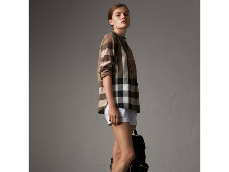 Check Grandad Collar Shirt in Taupe Brown - Women | Burberry Australia - cell image 4
