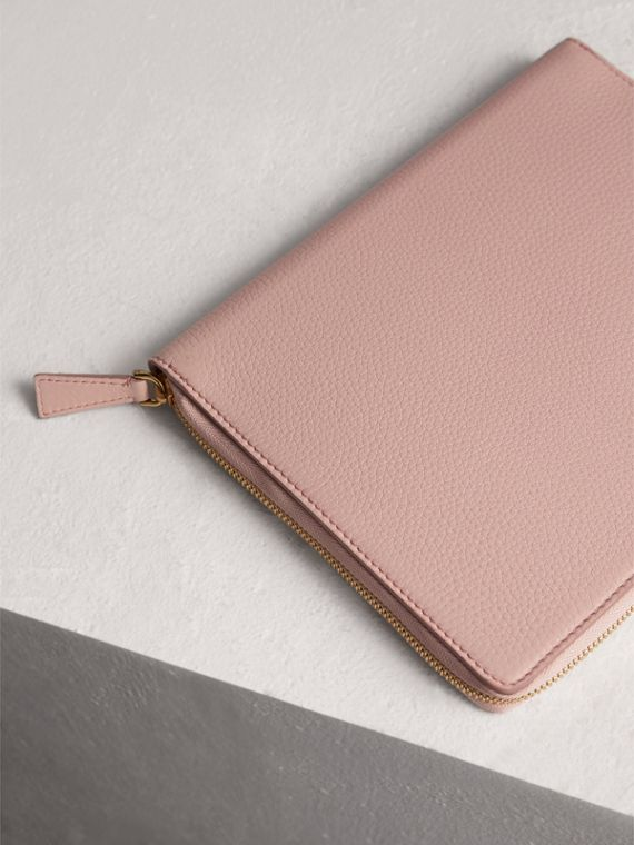 Embossed Leather Ziparound A5 Notebook Case in Pale Ash Rose | Burberry - cell image 2