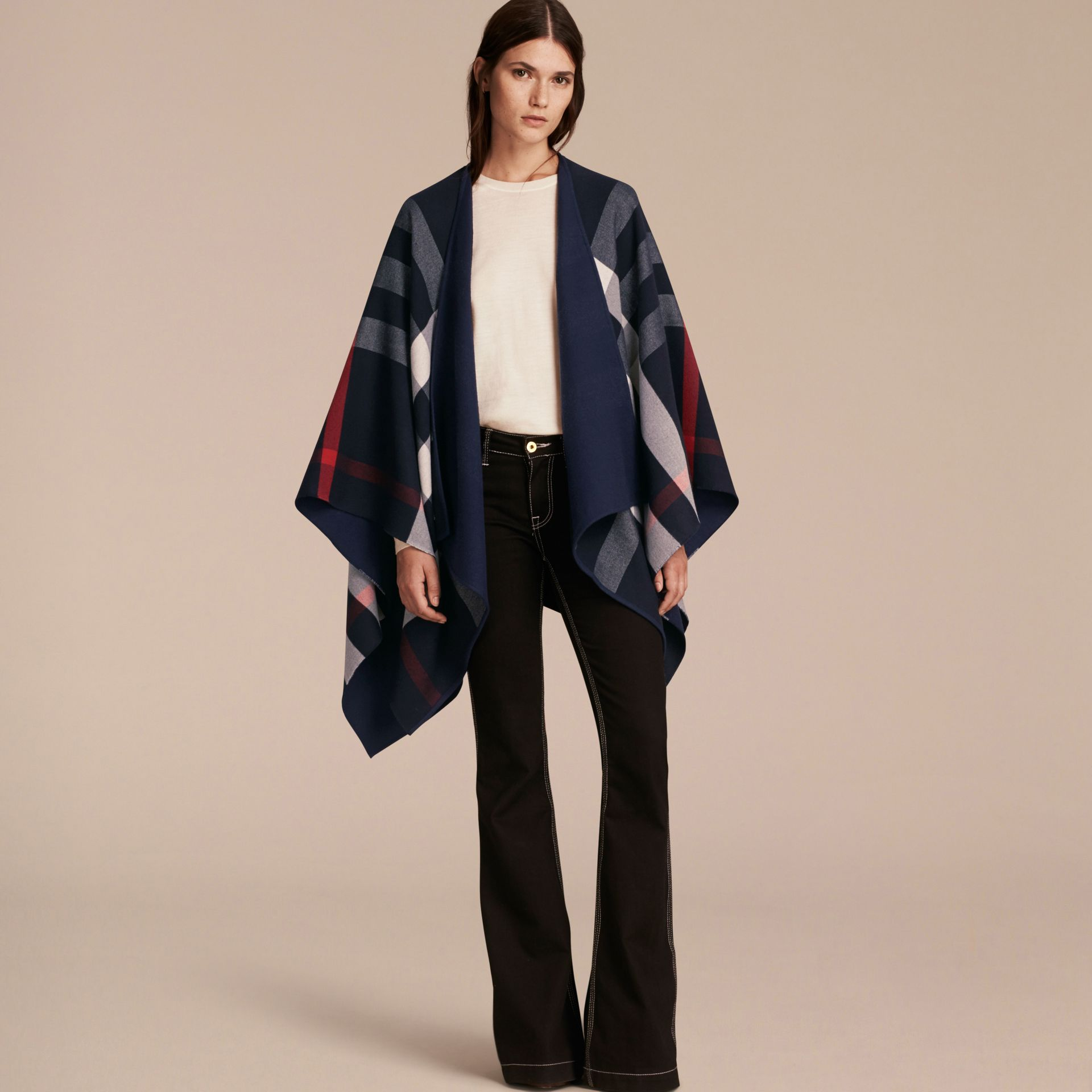 Reversible Check Merino Wool Poncho in Navy - Women | Burberry Singapore - gallery image 3