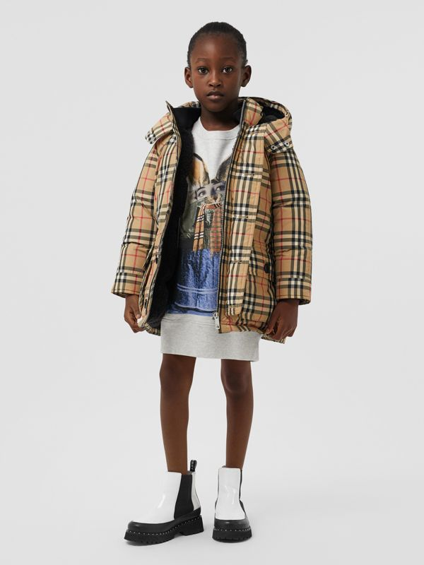 Vintage Check Down-filled Hooded Puffer Jacket in Archive Beige | Burberry - cell image 2