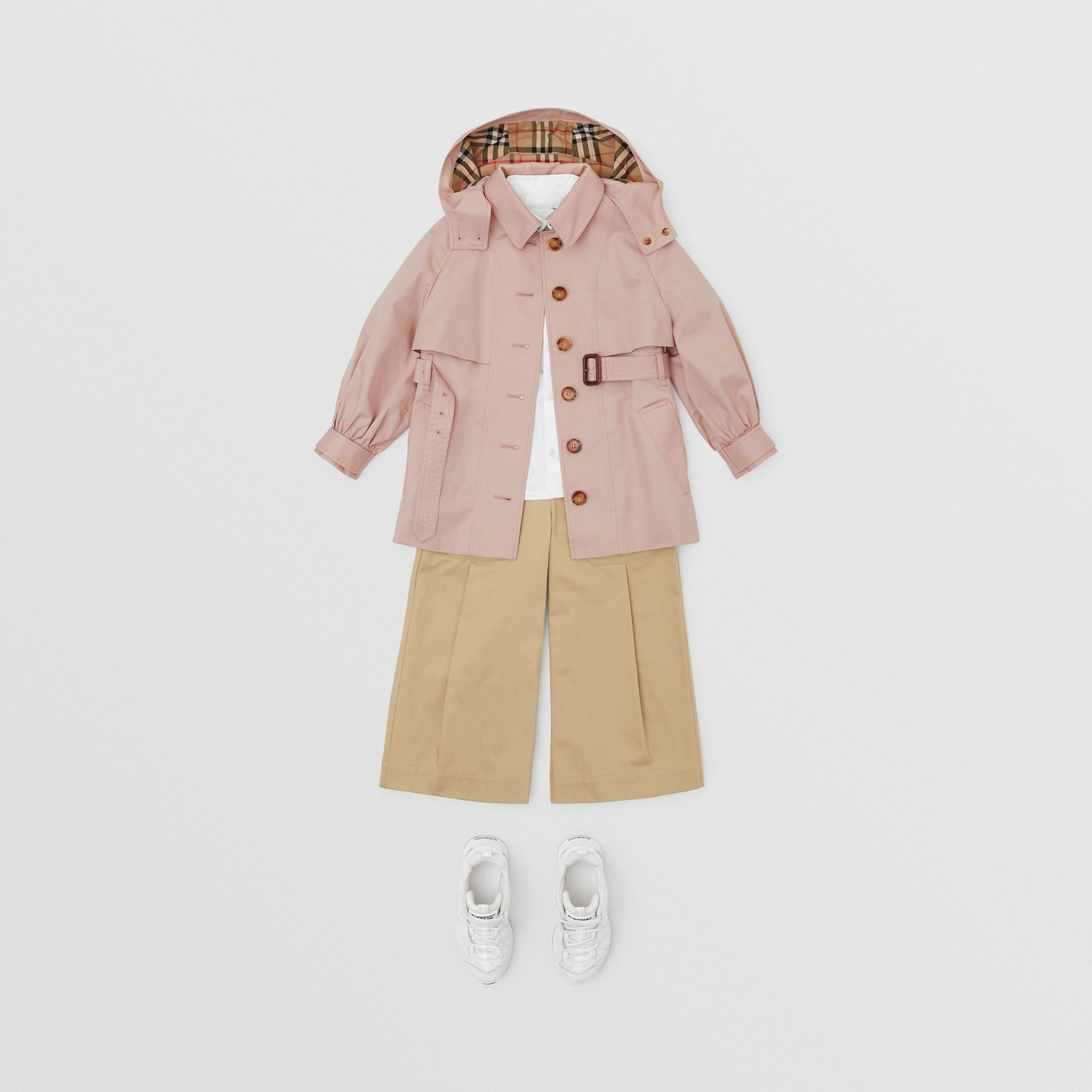 Detachable Hood Cotton Twill Trench Coat in Ice Pink | Burberry Canada - 3