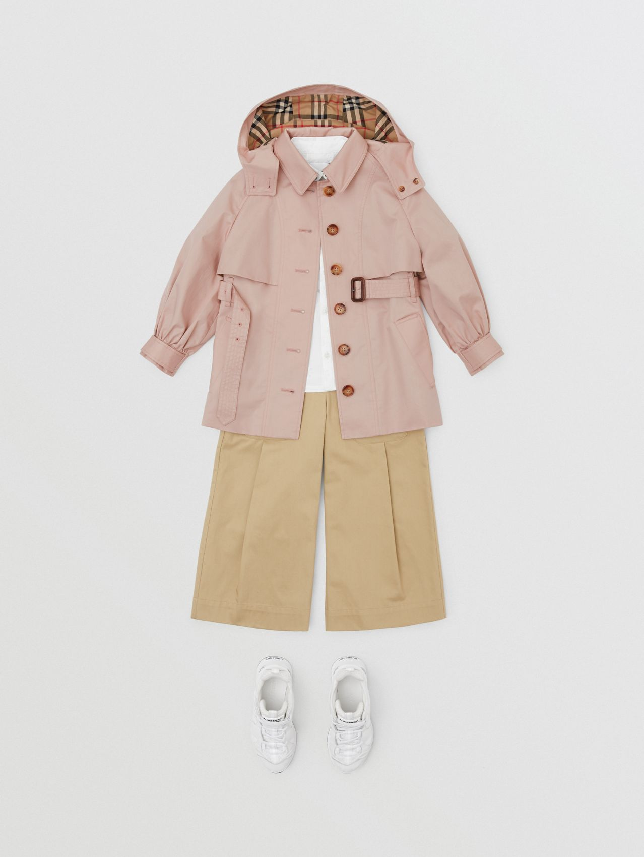 Detachable Hood Cotton Twill Trench Coat in Ice Pink