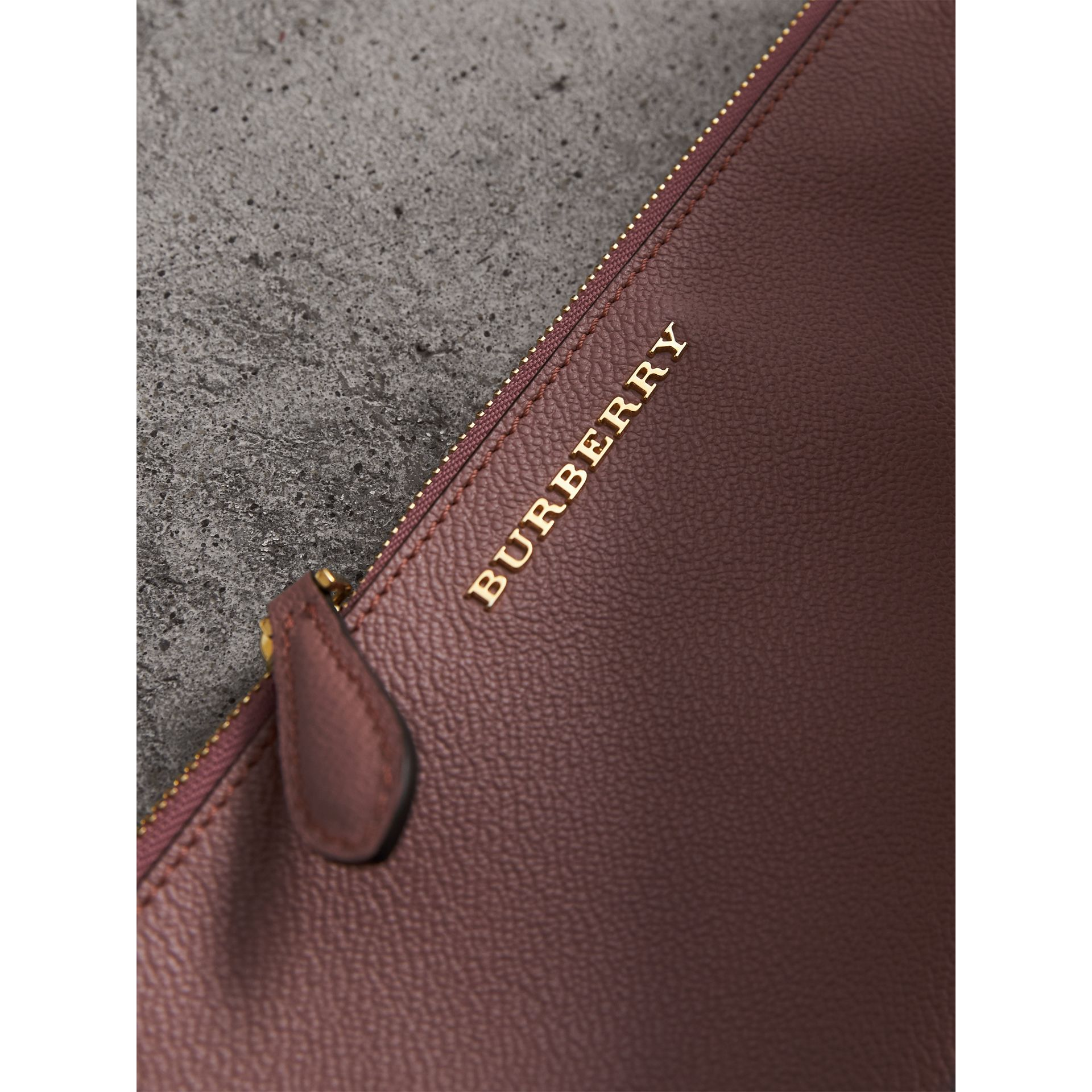 Leather Clutch Bag with Check Lining in Dusty Pink - Women | Burberry - gallery image 2