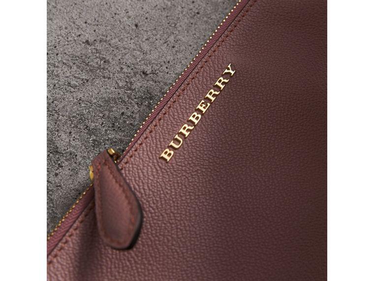 Leather Clutch Bag with Check Lining in Dusty Pink - Women | Burberry - cell image 1