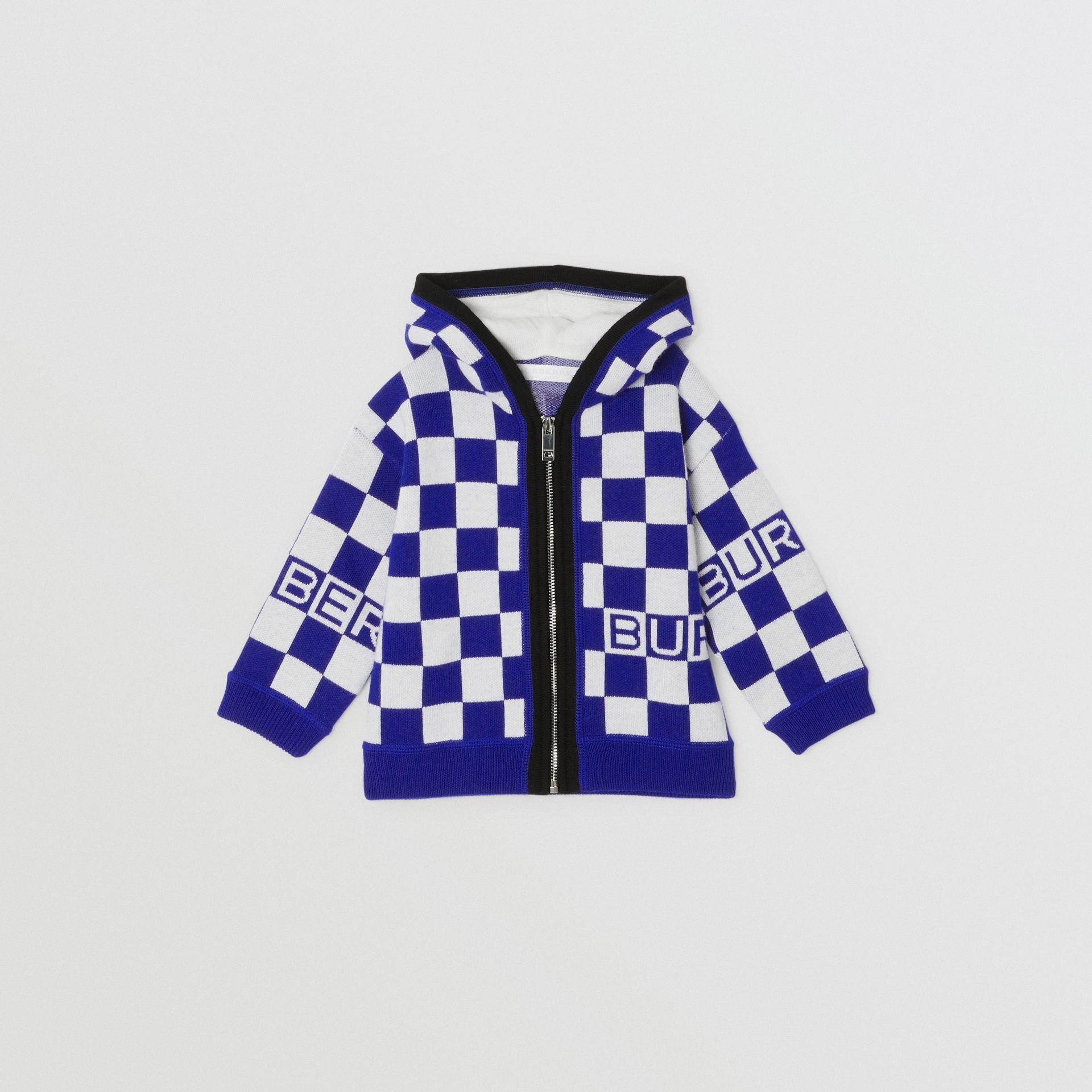 Chequer Merino Wool Hooded Top in Cobalt Blue - Children | Burberry - gallery image 0