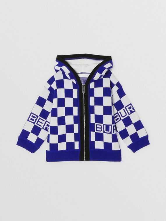 Chequer Merino Wool Hooded Top in Cobalt Blue