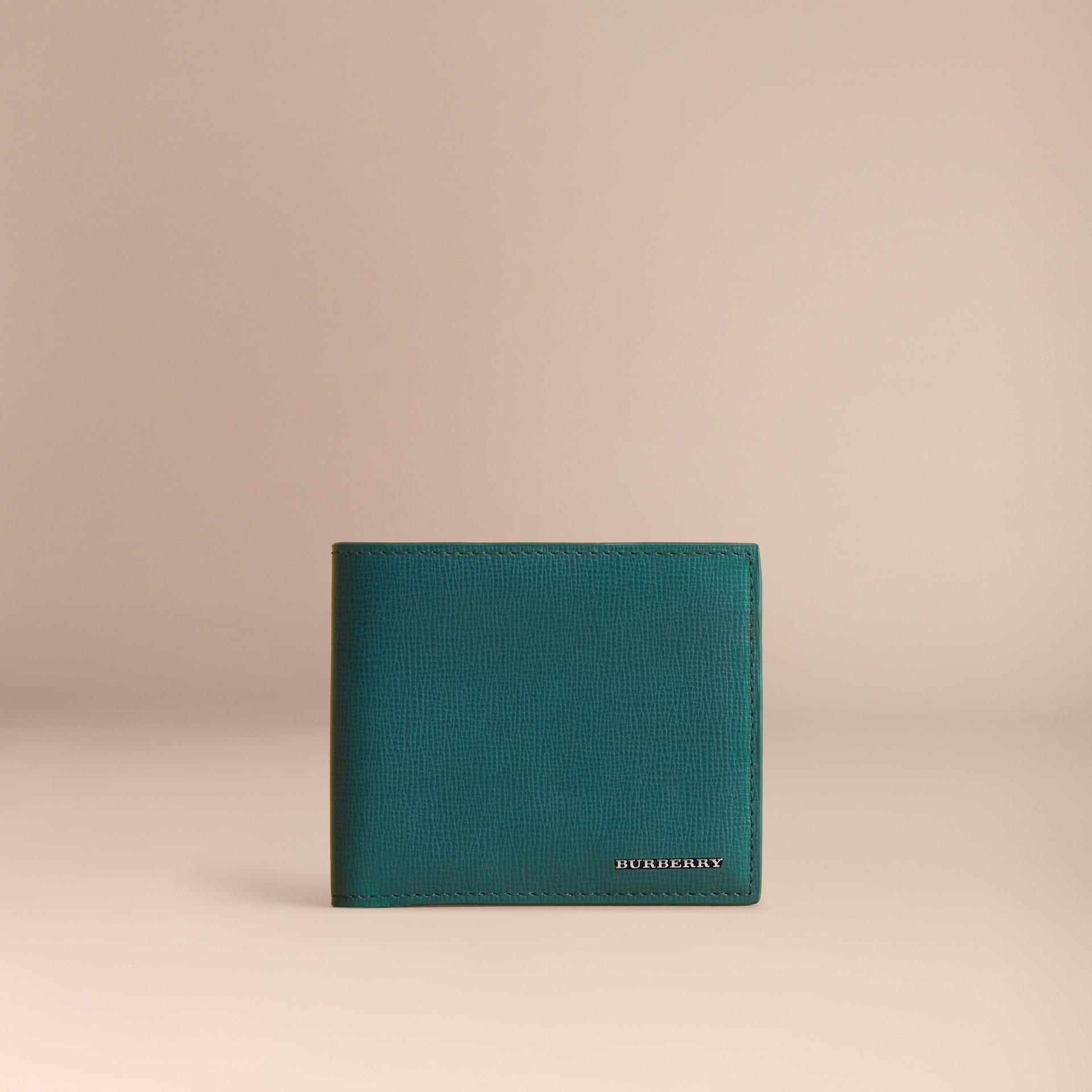 London Leather Folding Wallet Dark Teal - gallery image 2