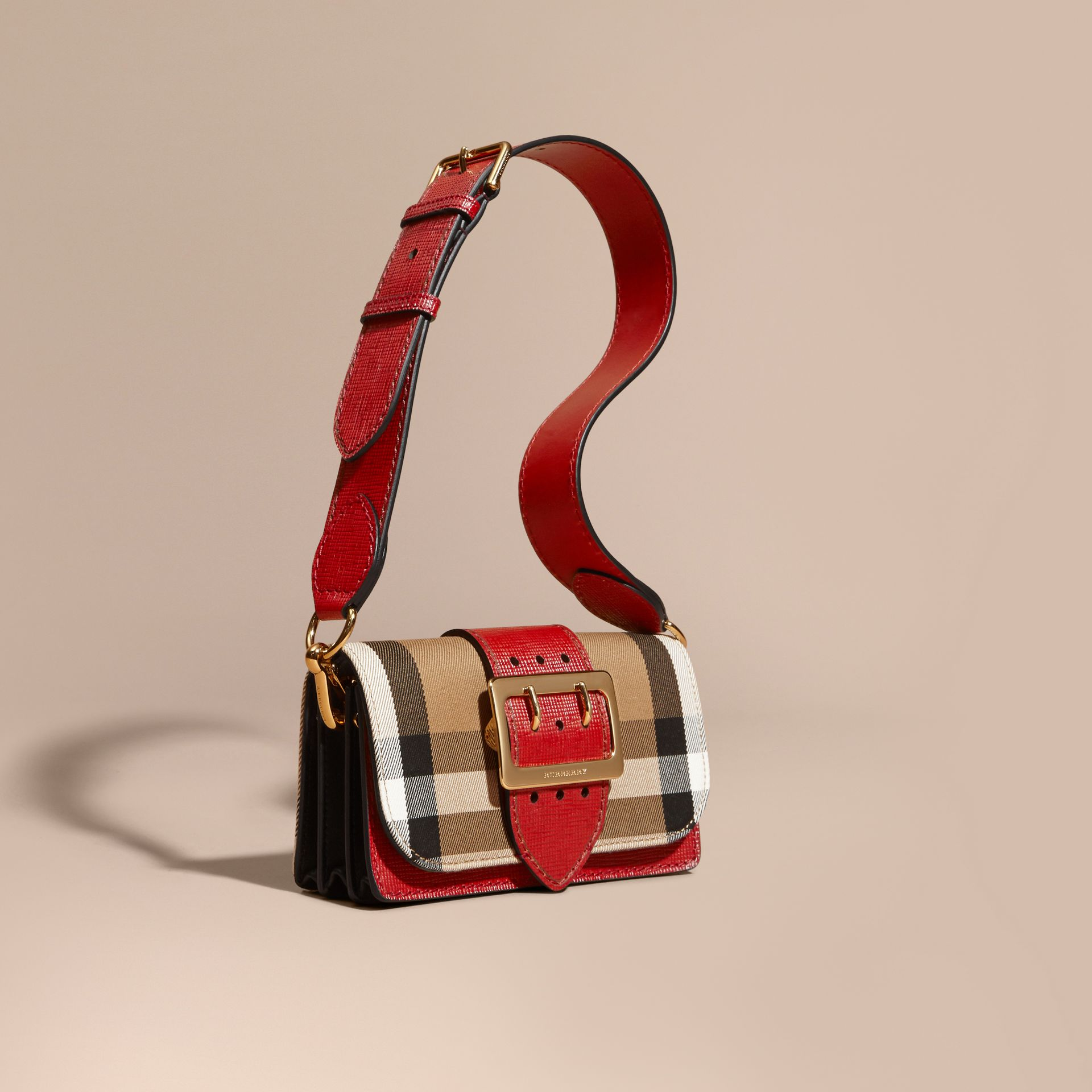 The Small Buckle Bag in House Check and Leather in Military Red/military Red - Women | Burberry United States - gallery image 8