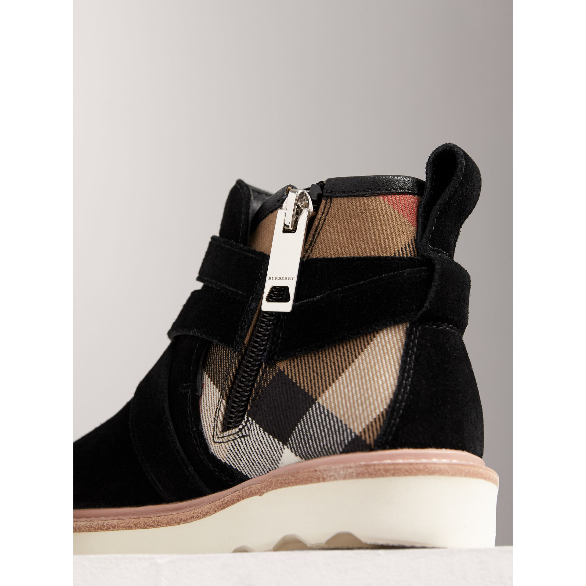 Belt Detail House Check and Suede Ankle Boots in Black | Burberry United Kingdom - gallery image 1