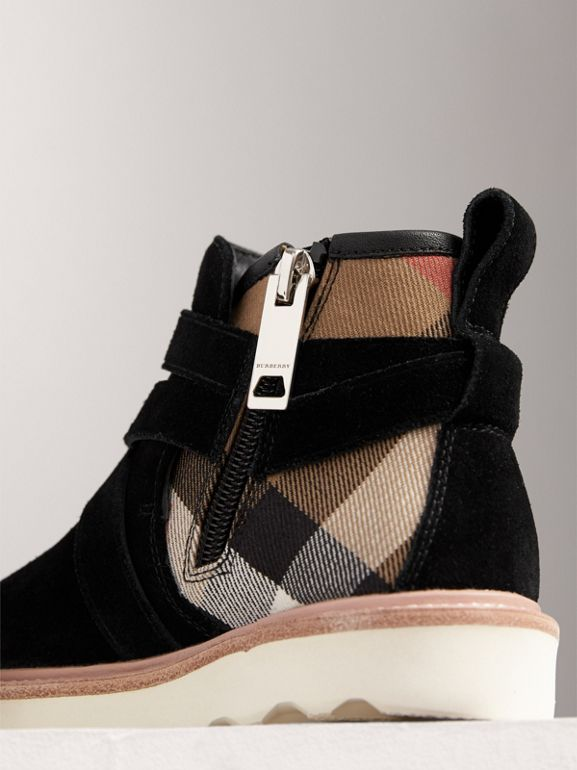 Belt Detail House Check and Suede Ankle Boots in Black | Burberry - cell image 1
