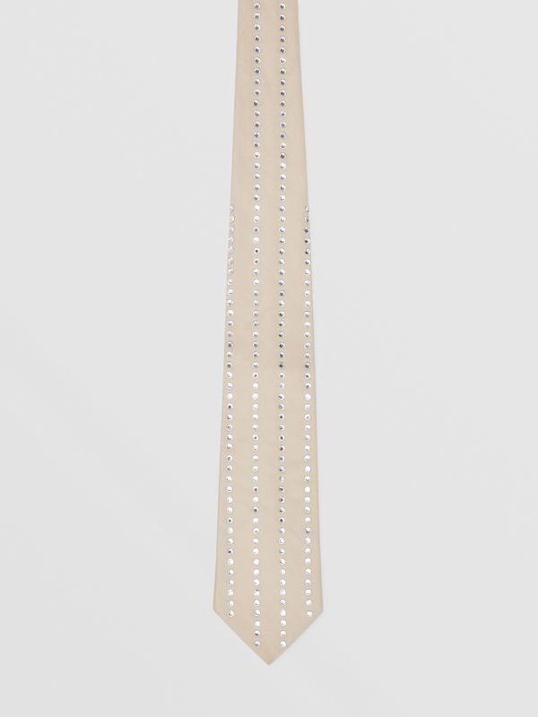Classic Cut Crystal Pinstriped Silk Tie in Sesame | Burberry Australia - cell image 3