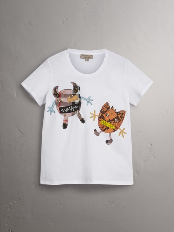 Creature Motif Cotton T-Shirt in White